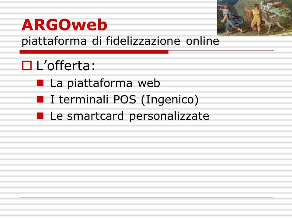 ARGOweb piattaforma di fidelizzazione online Lofferta: La piattaforma web I terminali POS (Ingenico) Le smartcard personalizzate