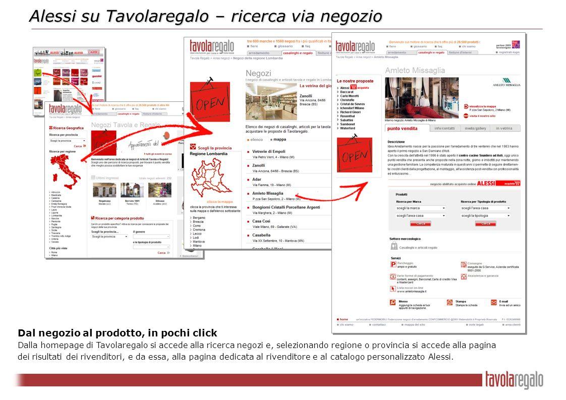Alessi su Tavolaregalo – ricerca via negozio Dal negozio al prodotto, in pochi click Dalla homepage di Tavolaregalo si accede alla ricerca negozi e, s