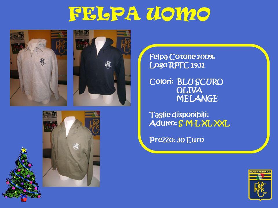 FELPA UOMO Felpa Cotone 100% Logo RPFC 1931 Colori: BLU SCURO OLIVA MELANGE Taglie disponibili: Adulto: S-M-L-XL-XXL Prezzo: 30 Euro