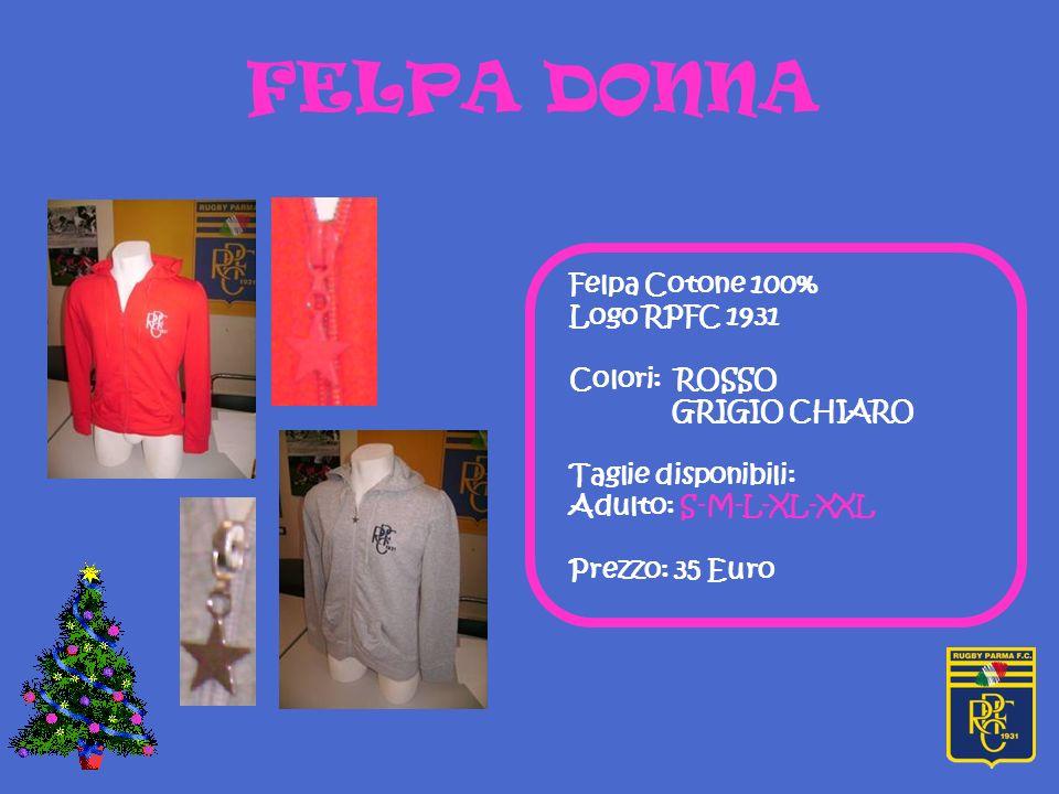 FELPA DONNA Felpa Cotone 100% Logo RPFC 1931 Colori: ROSSO GRIGIO CHIARO Taglie disponibili: Adulto: S-M-L-XL-XXL Prezzo: 35 Euro