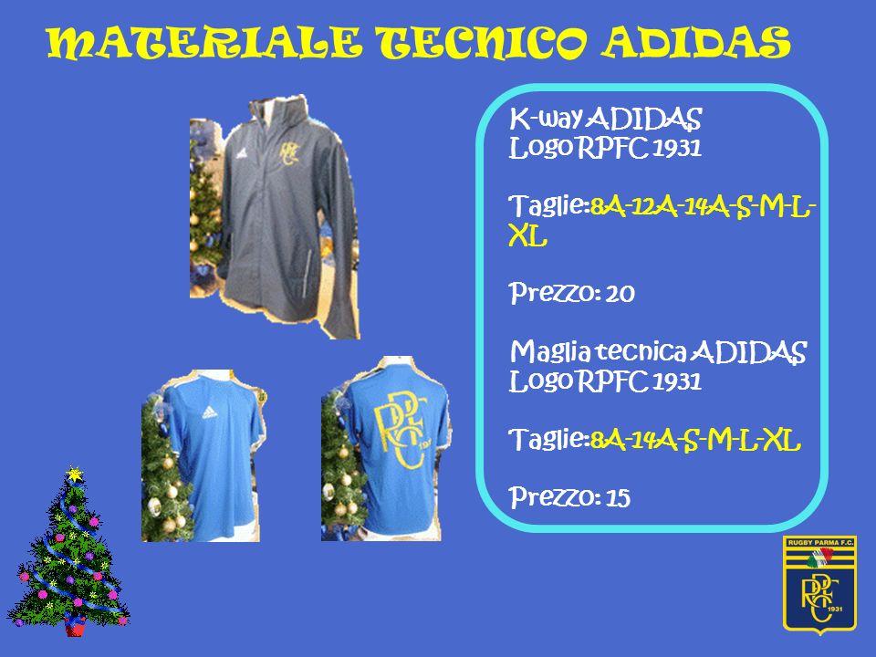 Polo ADIDAS Logo RPFC 1931 Taglie:S-M-L-XL-XXL Prezzo: 25 euro T-shirt ADIDAS Logo RPFC 1931 Taglie:8A-10A-12A-14A- S-M-L Prezzo: 15 euro MATERIALE TECNICO ADIDAS