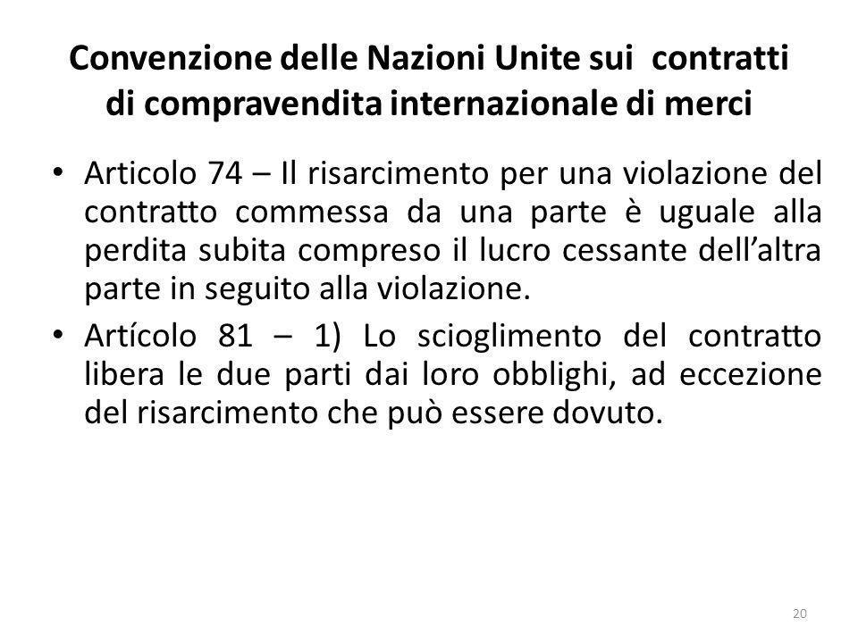 Convenzione delle Nazioni Unite sui contratti di compravendita internazionale di merci Articolo 74 – Il risarcimento per una violazione del contratto