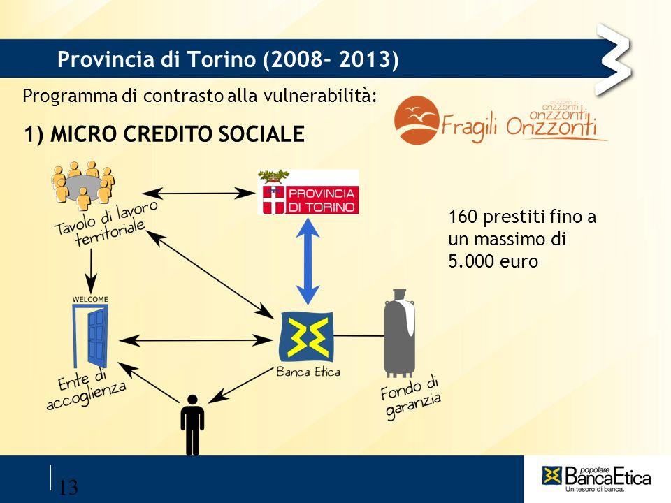 13 Provincia di Torino (2008- 2013) Programma di contrasto alla vulnerabilità: 1) MICRO CREDITO SOCIALE 160 prestiti fino a un massimo di 5.000 euro