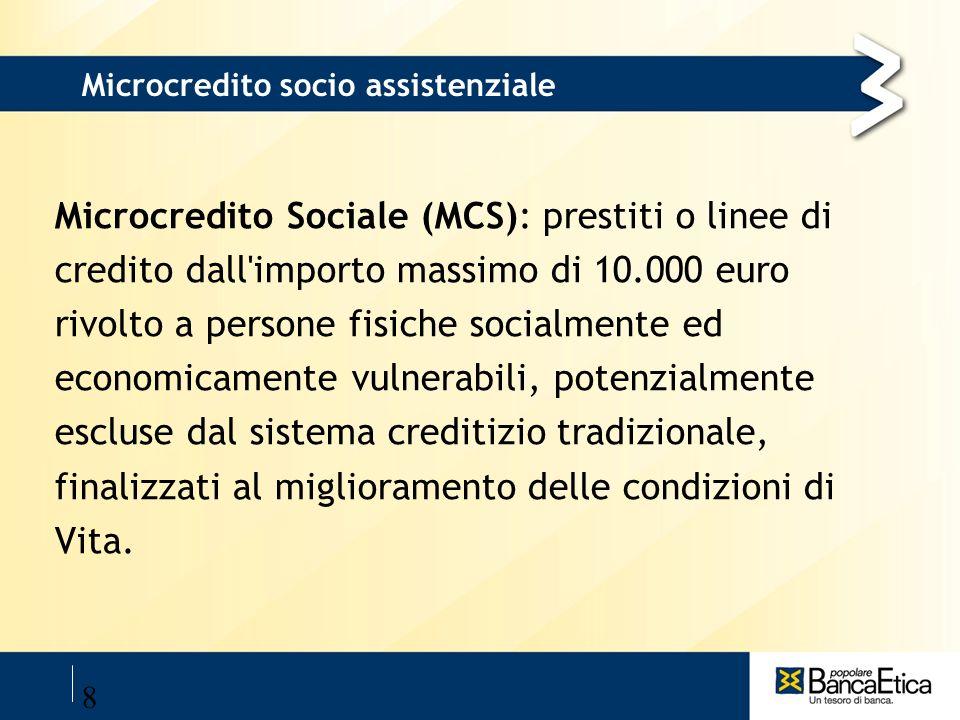 8 Microcredito socio assistenziale Microcredito Sociale (MCS): prestiti o linee di credito dall'importo massimo di 10.000 euro rivolto a persone fisic