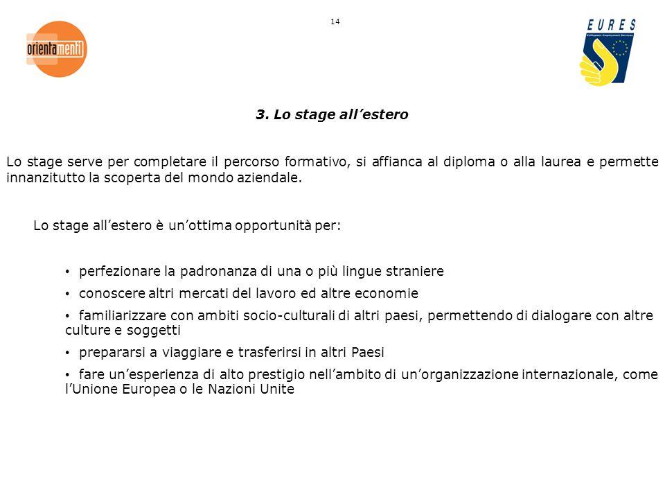 3. Lo stage allestero Lo stage serve per completare il percorso formativo, si affianca al diploma o alla laurea e permette innanzitutto la scoperta de
