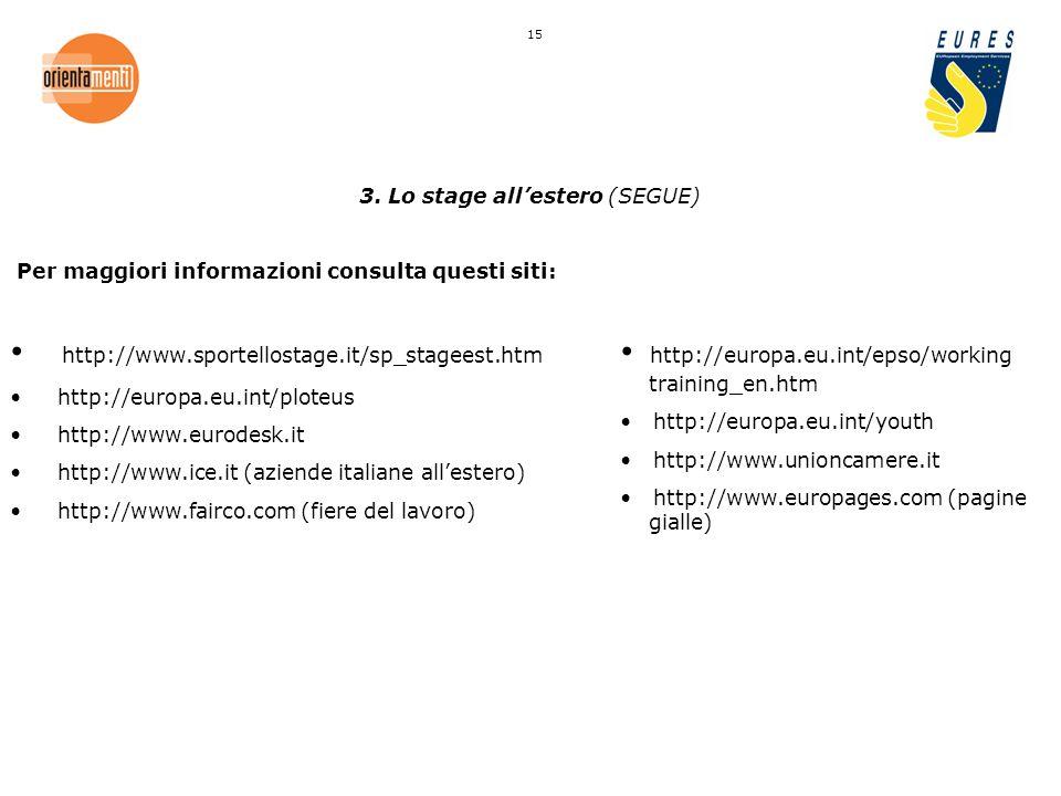 3. Lo stage allestero (SEGUE) Per maggiori informazioni consulta questi siti: http://www.sportellostage.it/sp_stageest.htm http://europa.eu.int/ploteu