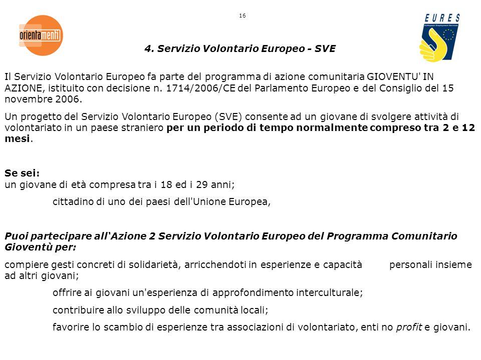 4. Servizio Volontario Europeo - SVE Il Servizio Volontario Europeo fa parte del programma di azione comunitaria GIOVENTU' IN AZIONE, istituito con de