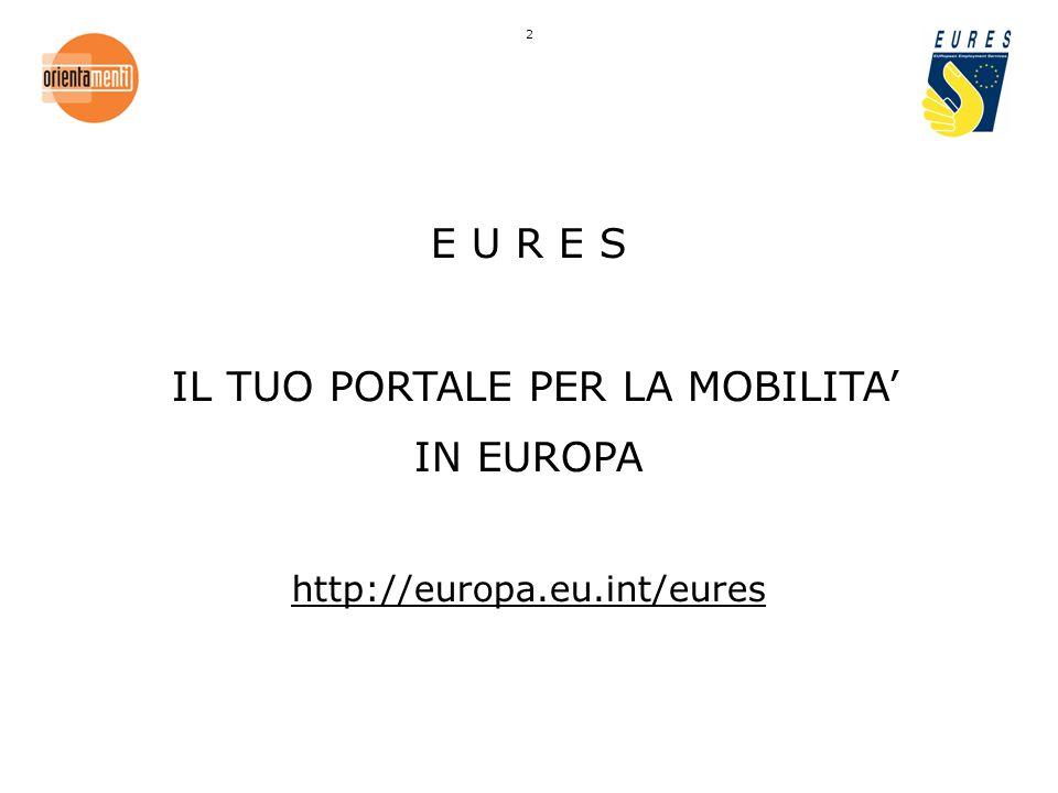 E U R E S IL TUO PORTALE PER LA MOBILITA IN EUROPA http://europa.eu.int/eures 2