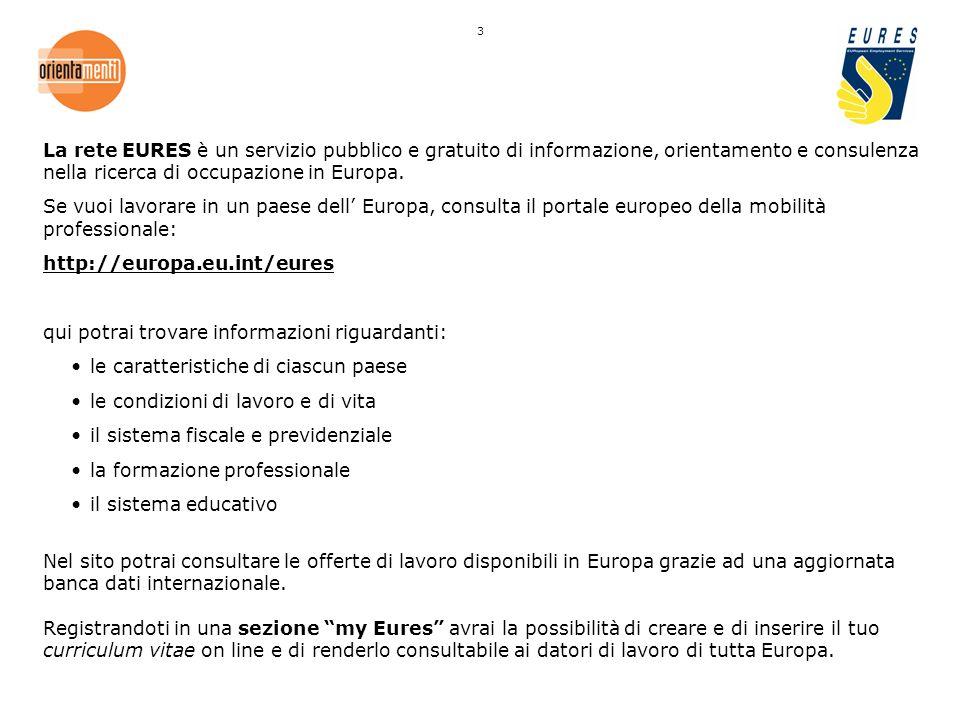 La rete EURES è un servizio pubblico e gratuito di informazione, orientamento e consulenza nella ricerca di occupazione in Europa.