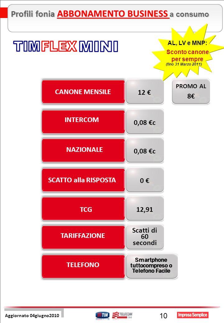 Pre Sales Centro 10 TCG SCATTO alla RISPOSTA NAZIONALE TARIFFAZIONE CANONE MENSILE TELEFONO INTERCOM 12,91 0 0,08 c Scatti di 60 secondi 12 Aggiornato 04giugno2010 Profili fonia ABBONAMENTO BUSINESS a consumo Smartphone tuttocompreso o Telefono Facile AL, LV e MNP: Sconto canone per sempre (fino 31 Marzo 2011) PROMO AL 8