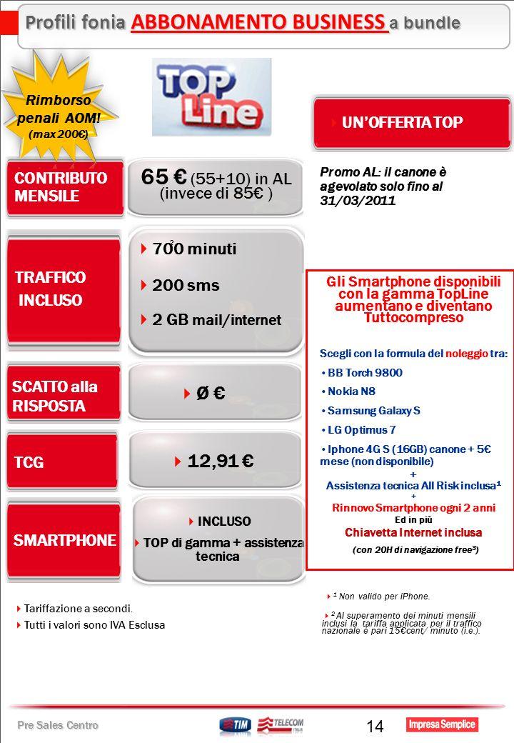 Pre Sales Centro 14 Ø TRAFFICO INCLUSO CONTRIBUTO MENSILE 65 (55+10) in AL (invece di 85 ) TCG SCATTO alla RISPOSTA 200 sms 2 GB mail/internet 700 min