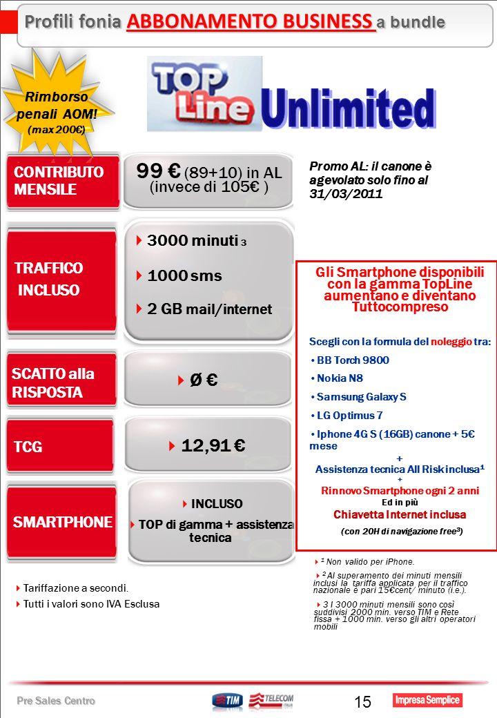 Pre Sales Centro 15 Ø TRAFFICO INCLUSO CONTRIBUTO MENSILE 99 (89+10) in AL (invece di 105 ) TCG SCATTO alla RISPOSTA 1000 sms 2 GB mail/internet 3000