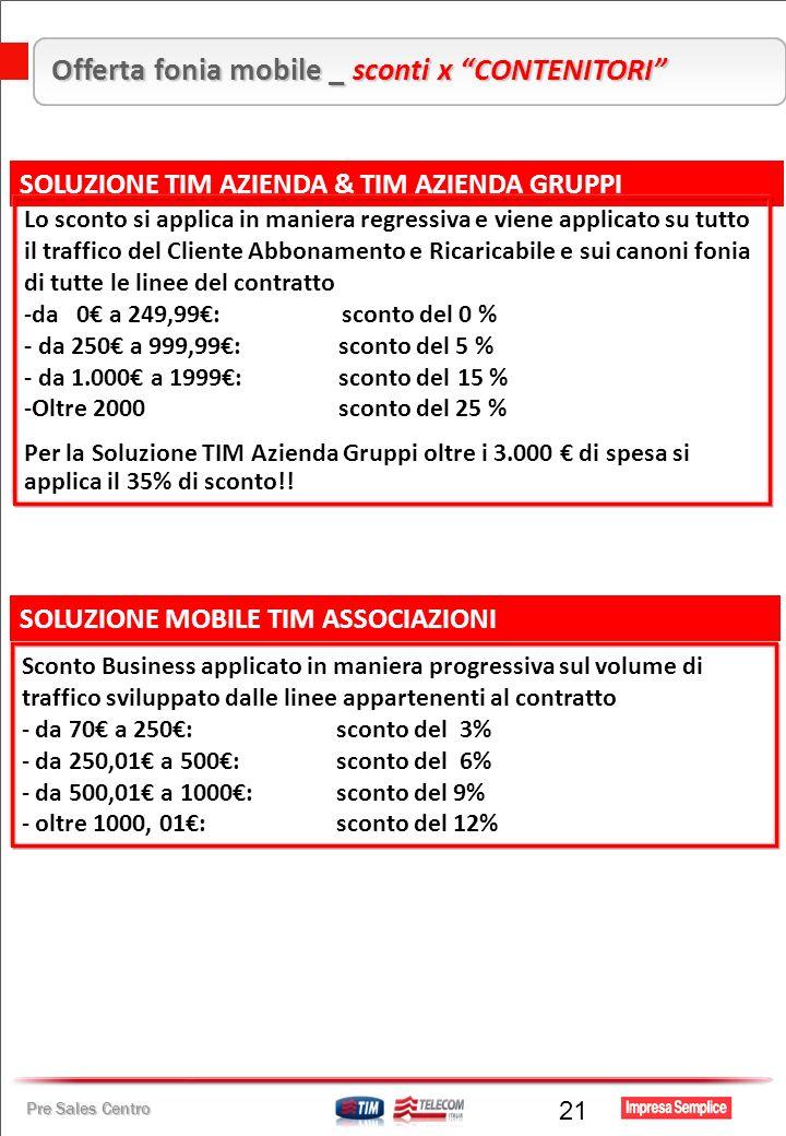 Pre Sales Centro 21 Offerta fonia mobile _ sconti x CONTENITORI SOLUZIONE TIM AZIENDA & TIM AZIENDA GRUPPI SOLUZIONE MOBILE TIM ASSOCIAZIONI Lo sconto