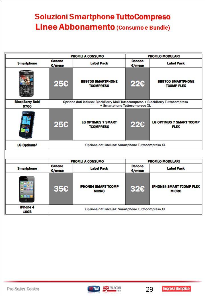 Pre Sales Centro TuttoCompreso Soluzioni Smartphone TuttoCompreso Linee Abbonamento Linee Abbonamento (Consumo e Bundle) 29