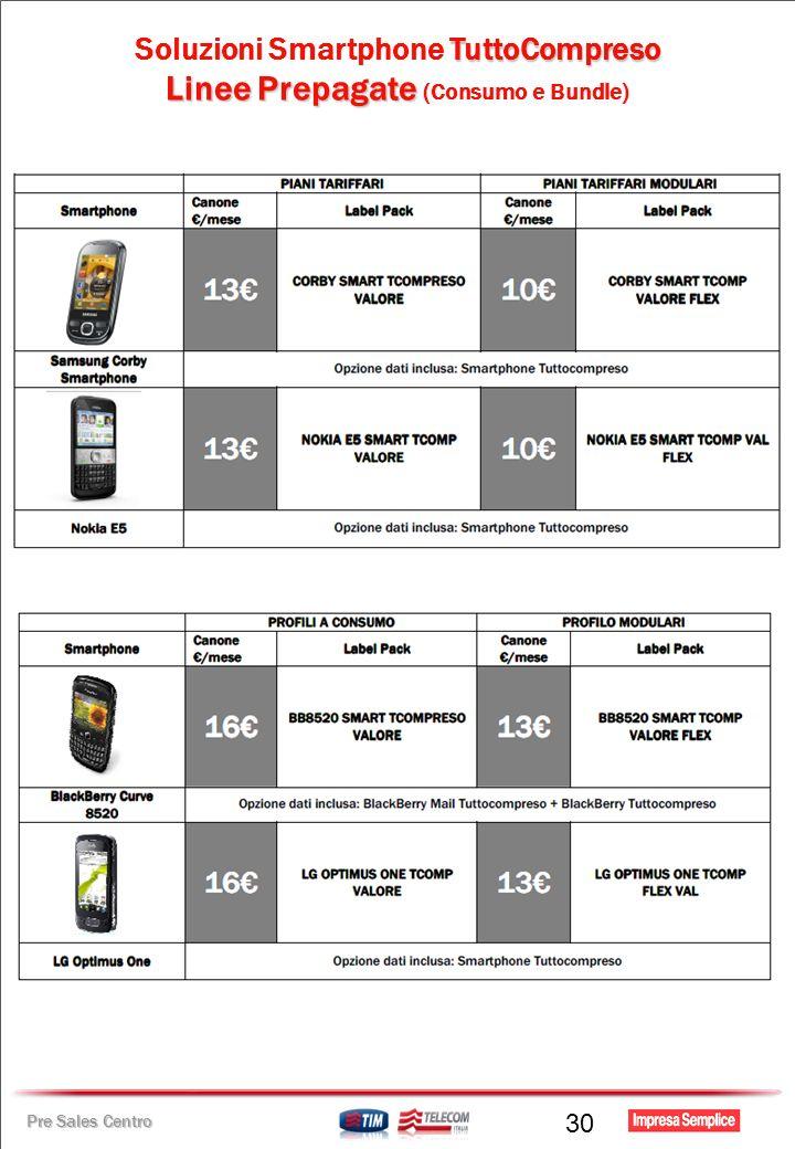 Pre Sales Centro TuttoCompreso Soluzioni Smartphone TuttoCompreso Linee Prepagate Linee Prepagate (Consumo e Bundle) 30