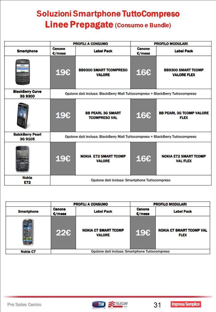 Pre Sales Centro TuttoCompreso Soluzioni Smartphone TuttoCompreso Linee Prepagate Linee Prepagate (Consumo e Bundle) 31