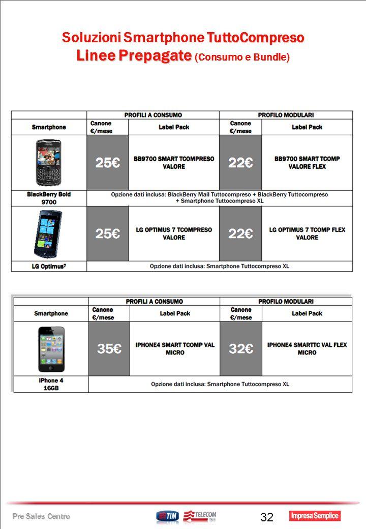 Pre Sales Centro TuttoCompreso Soluzioni Smartphone TuttoCompreso Linee Prepagate Linee Prepagate (Consumo e Bundle) 32