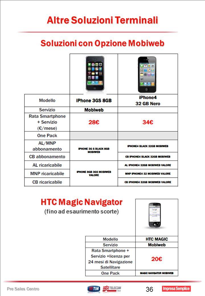 Pre Sales Centro Soluzioni con Opzione Mobiweb HTC Magic Navigator (fino ad esaurimento scorte) Altre Soluzioni Terminali 36