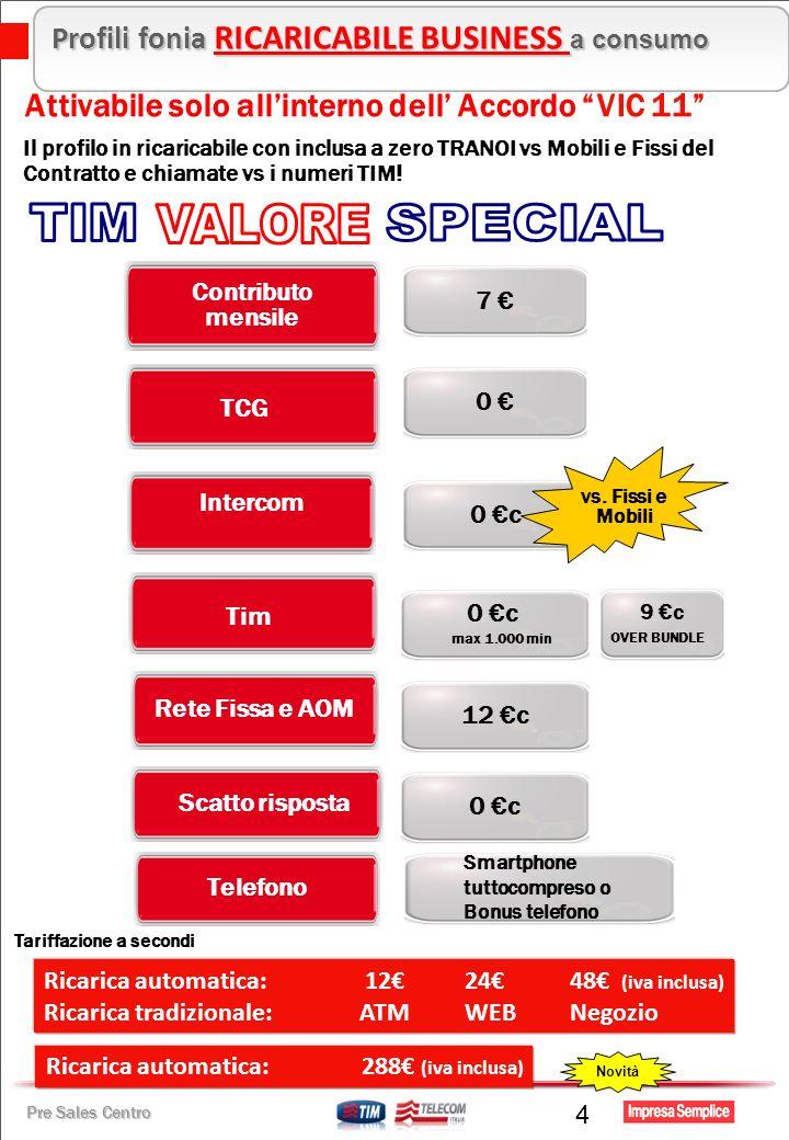 Pre Sales Centro Telefono Intercom 0 c Attivabile solo allinterno dell Accordo VIC 11 Il profilo in ricaricabile con inclusa a zero TRANOI vs Mobili e Fissi del Contratto e chiamate vs i numeri TIM.