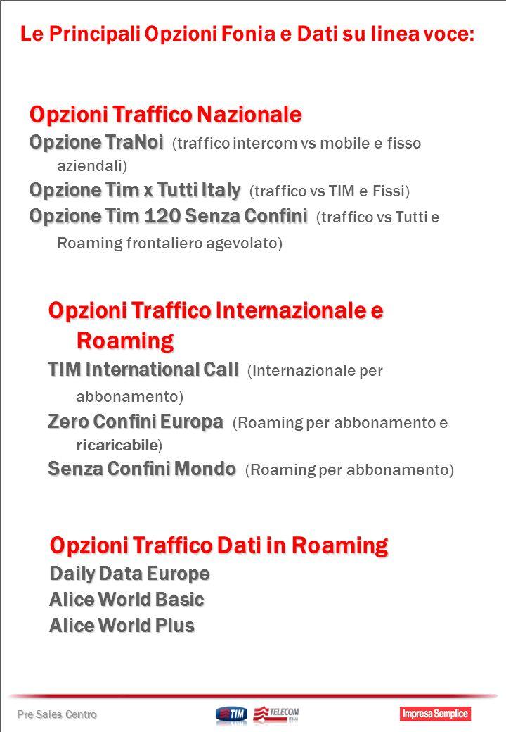 Pre Sales Centro Opzioni Traffico Nazionale Opzione TraNoi Opzione TraNoi (traffico intercom vs mobile e fisso aziendali) Opzione Tim x Tutti Italy Op