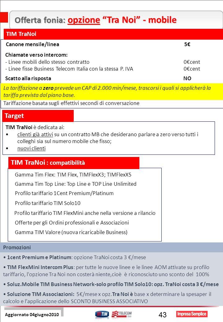 Pre Sales Centro 43 Offerta fonia: opzione Tra Noi - mobile TIM TraNoi Canone mensile/linea 5 La tariffazione a zero prevede un CAP di 2.000 min/mese, trascorsi i quali si applicherà la tariffa prevista dal piano base.