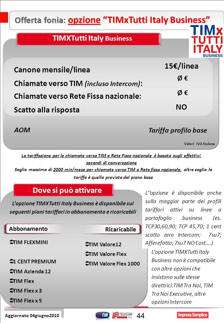 Pre Sales Centro 44 Offerta fonia: opzione TIMxTutti Italy Business Aggiornato 04giugno2010 Soglia massima di 2000 min/mese per chiamate verso TIM o Rete fissa nazionale, oltre soglia la tariffa è quella prevista dal piano base La tariffazione per le chiamate verso TIM e Rete Fissa nazionale è basata sugli effettivi secondi di conversazione Valori IVA Esclusa AOM Tariffa profilo base TIMXTutti Italy Business Canone mensile/linea Scatto alla risposta Chiamate verso TIM (incluso Intercom) : 15/linea NO Ø Chiamate verso Rete Fissa nazionale: Ø Lopzione TIMXTutti Italy Business è disponibile sui seguenti piani tariffari in abbonamento e ricaricabili Dove si può attivare Abbonamento Ricaricabile TIM FLEXMINI 1 CENT PREMIUM TIM Azienda 12 TIM Flex TIM Flex x 3 TIM Flex x 5 TIM Valore12 TIM Valore Flex TIM Valore Flex 1000 Lopzione è disponibile anche sulla maggior parte dei profili tariffari attivi su linee a portafoglio business (es.