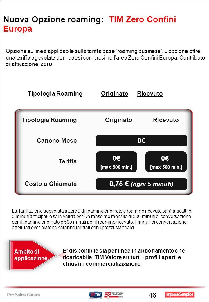 Pre Sales Centro 46 Opzione su linea applicabile sulla tariffa base roaming business. Lopzione offre una tariffa agevolata per i paesi compresi nellar