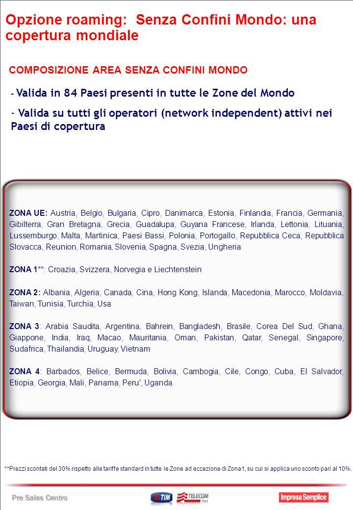 Pre Sales Centro ZONA UE: Austria, Belgio, Bulgaria, Cipro, Danimarca, Estonia, Finlandia, Francia, Germania, Gibilterra, Gran Bretagna, Grecia, Guada
