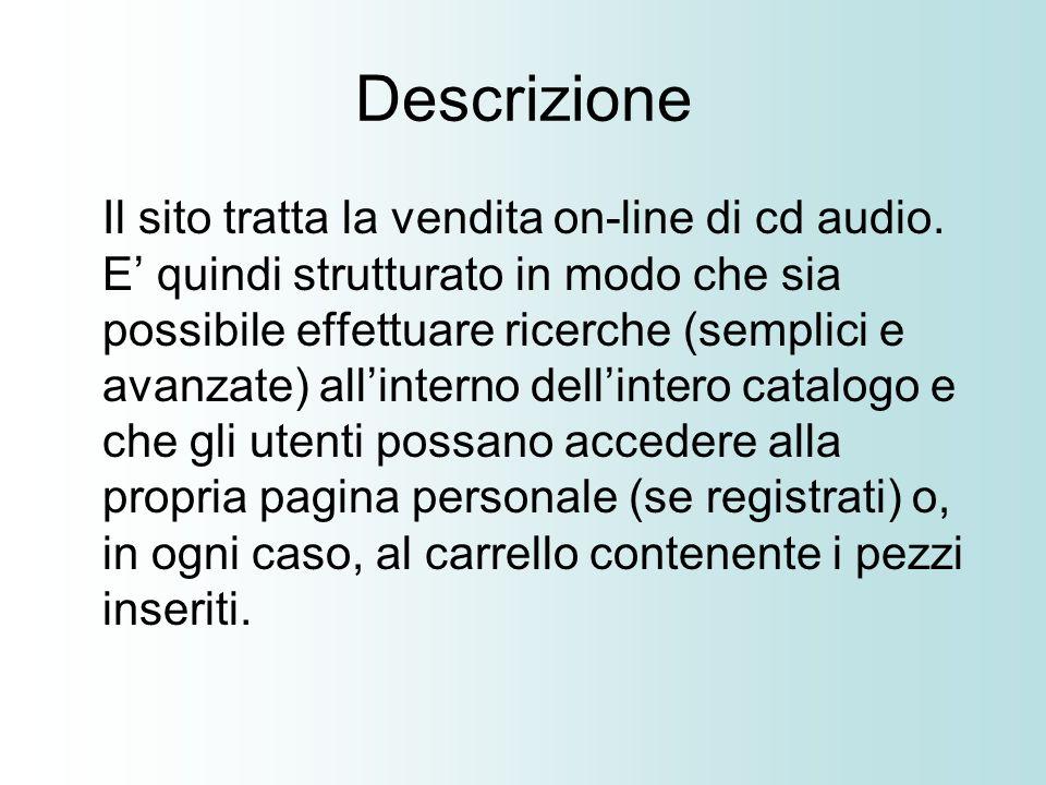 Descrizione Il sito tratta la vendita on-line di cd audio.