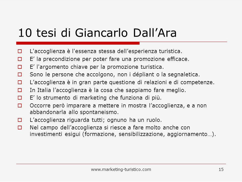10 tesi di Giancarlo DallAra L'accoglienza è l'essenza stessa dellesperienza turistica. E la precondizione per poter fare una promozione efficace. E l