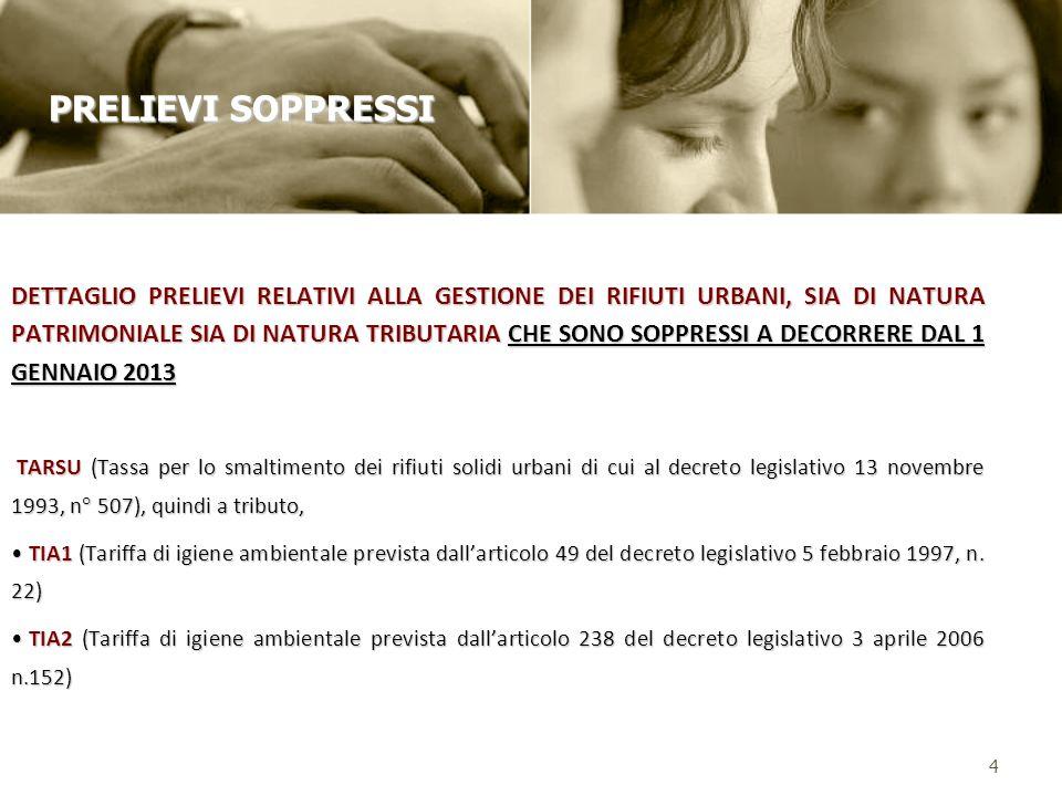 DETTAGLIO PRELIEVI RELATIVI ALLA GESTIONE DEI RIFIUTI URBANI, SIA DI NATURA PATRIMONIALE SIA DI NATURA TRIBUTARIA CHE SONO SOPPRESSI A DECORRERE DAL 1 GENNAIO 2013 TARSU (Tassa per lo smaltimento dei rifiuti solidi urbani di cui al decreto legislativo 13 novembre 1993, n° 507), quindi a tributo, TARSU (Tassa per lo smaltimento dei rifiuti solidi urbani di cui al decreto legislativo 13 novembre 1993, n° 507), quindi a tributo, TIA1 (Tariffa di igiene ambientale prevista dallarticolo 49 del decreto legislativo 5 febbraio 1997, n.