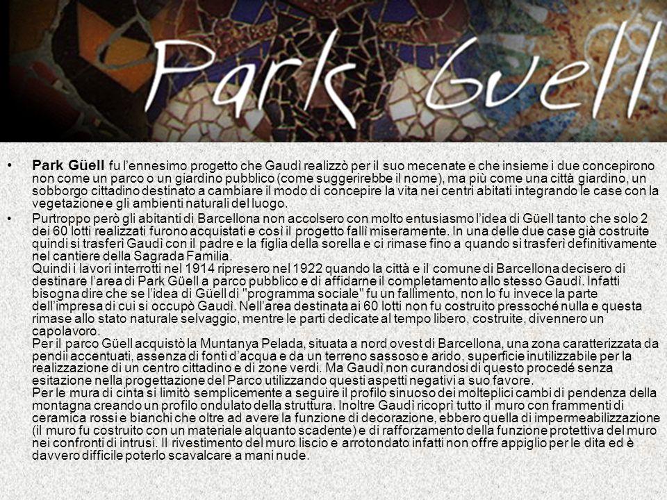 Park Güell fu lennesimo progetto che Gaudì realizzò per il suo mecenate e che insieme i due concepirono non come un parco o un giardino pubblico (come