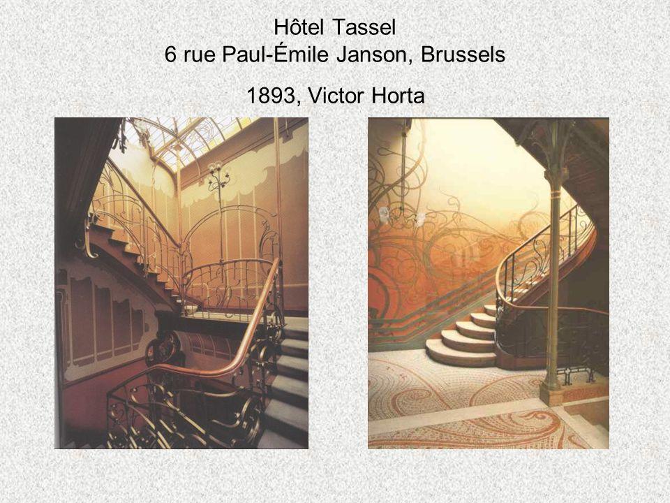 Hôtel Tassel 6 rue Paul-Émile Janson, Brussels 1893, Victor Horta
