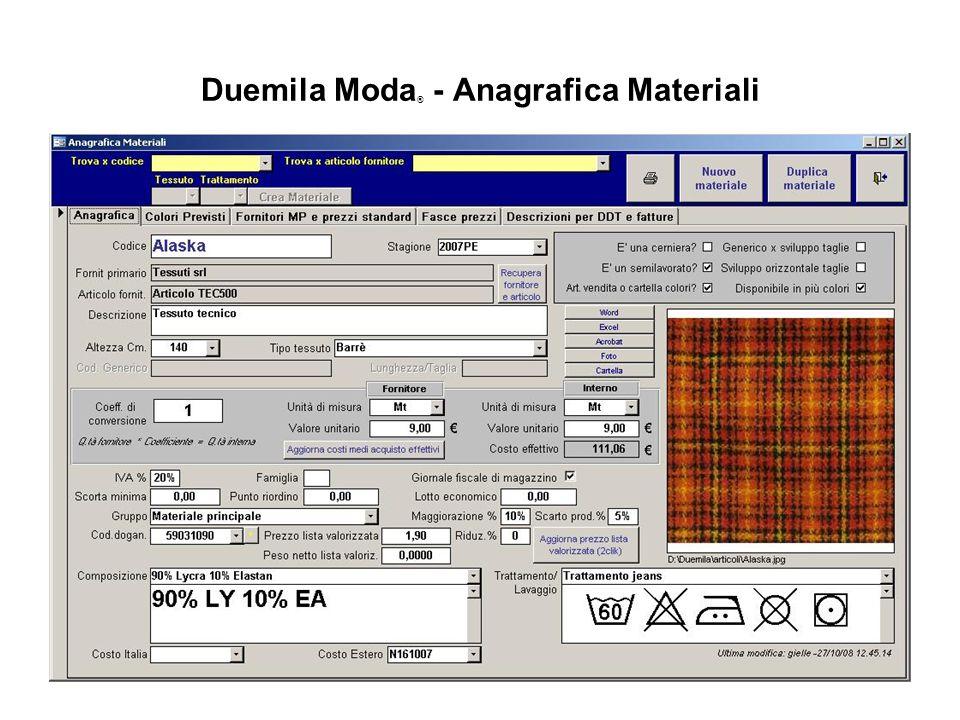Duemila Moda ® - Anagrafica Materiali