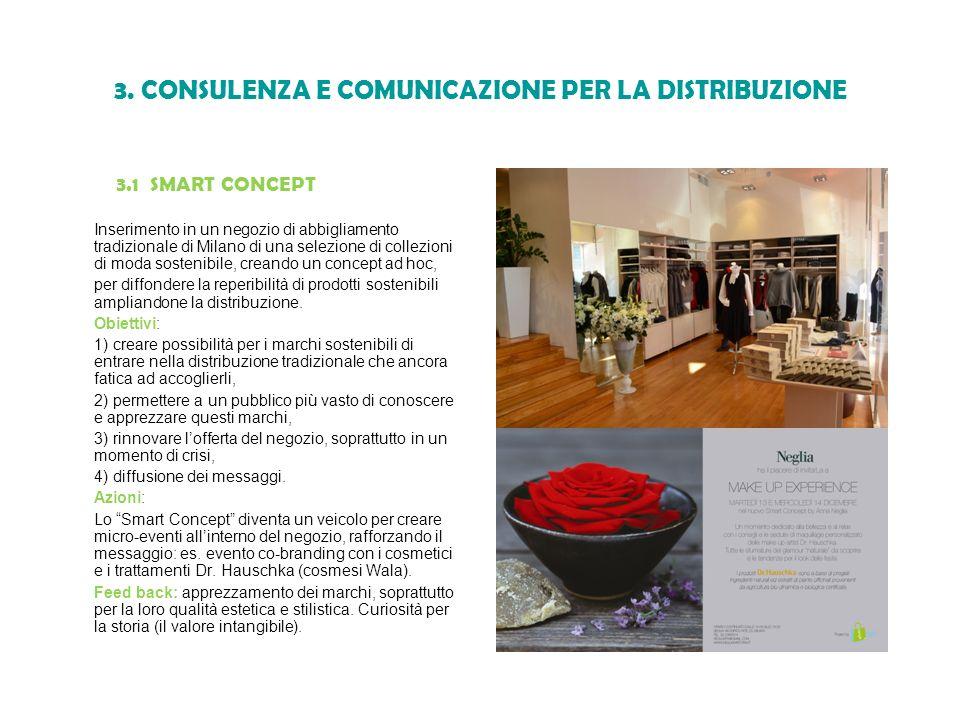 3. CONSULENZA E COMUNICAZIONE PER LA DISTRIBUZIONE 3.1 SMART CONCEPT Inserimento in un negozio di abbigliamento tradizionale di Milano di una selezion