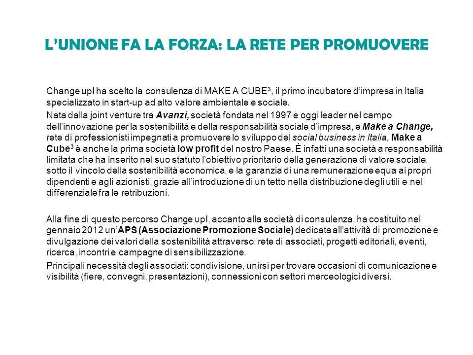 LUNIONE FA LA FORZA: LA RETE PER PROMUOVERE Change up! ha scelto la consulenza di MAKE A CUBE 3, il primo incubatore dimpresa in Italia specializzato