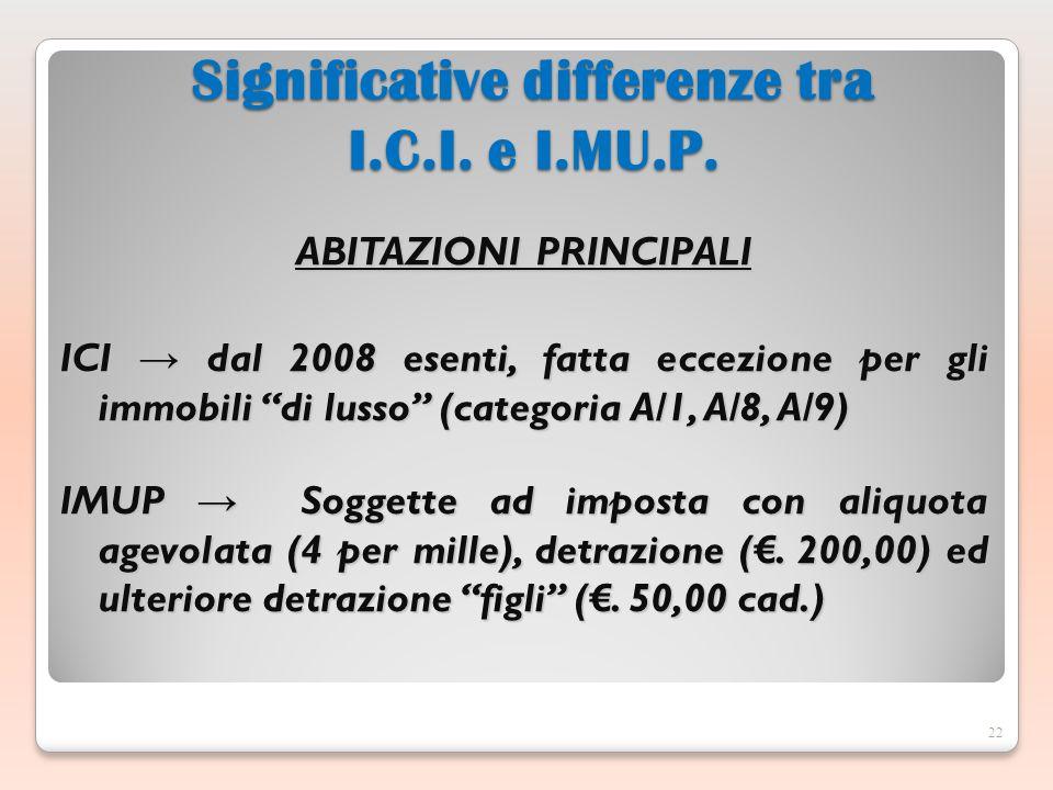 ABITAZIONI PRINCIPALI ICI dal 2008 esenti, fatta eccezione per gli immobili di lusso (categoria A/1, A/8, A/9) IMUP Soggette ad imposta con aliquota agevolata (4 per mille), detrazione (.