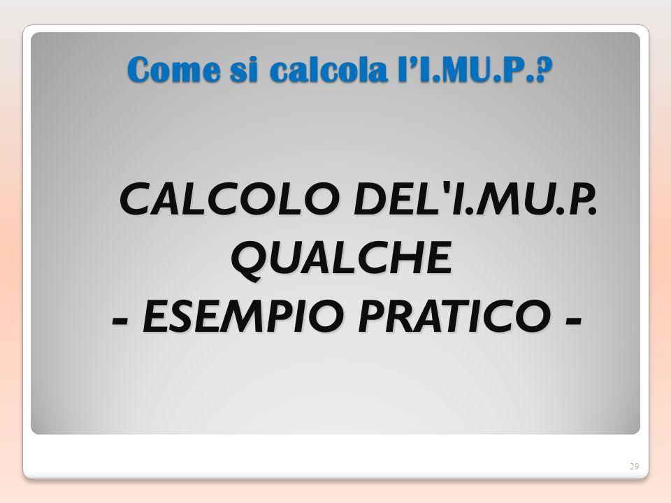 CALCOLO DEL I.MU.P.