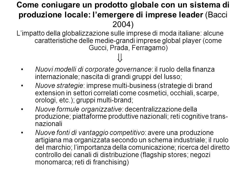 Come coniugare un prodotto globale con un sistema di produzione locale: lemergere di imprese leader (Bacci 2004) Limpatto della globalizzazione sulle
