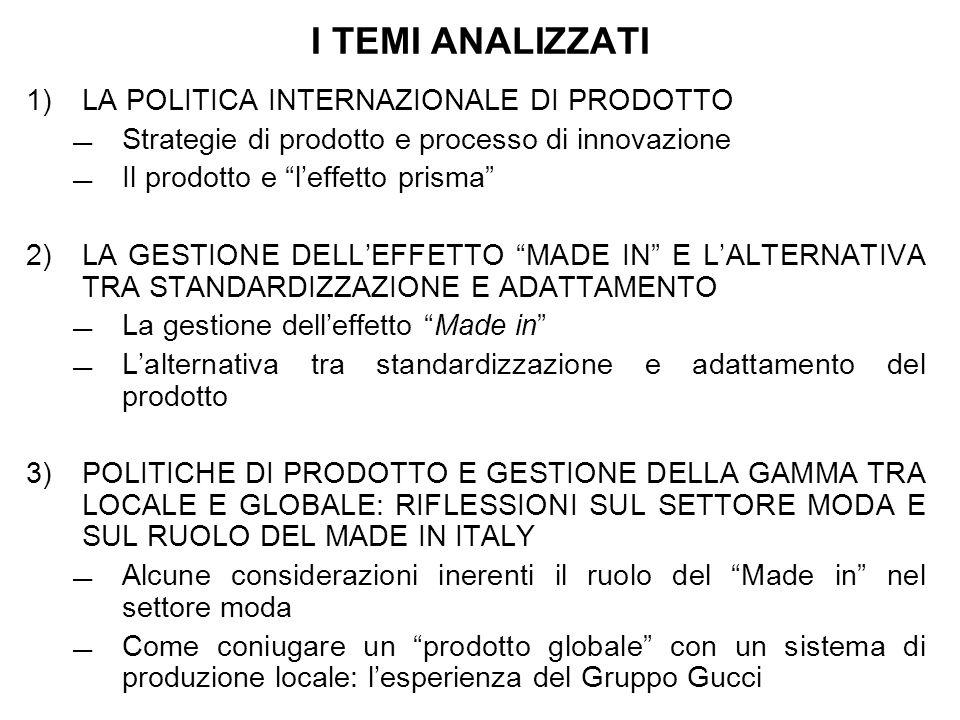 I TEMI ANALIZZATI 1) LA POLITICA INTERNAZIONALE DI PRODOTTO Strategie di prodotto e processo di innovazione Il prodotto e leffetto prisma 2) LA GESTIO