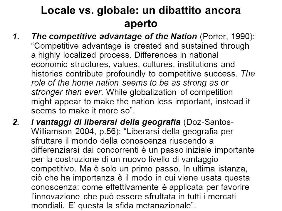 Locale vs. globale: un dibattito ancora aperto 1.The competitive advantage of the Nation (Porter, 1990): Competitive advantage is created and sustaine