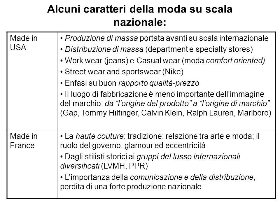 Alcuni caratteri della moda su scala nazionale: Made in USA Produzione di massa portata avanti su scala internazionale Distribuzione di massa (departm