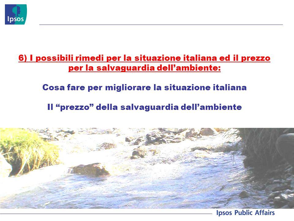 6) I possibili rimedi per la situazione italiana ed il prezzo per la salvaguardia dellambiente: Cosa fare per migliorare la situazione italiana Il prezzo della salvaguardia dellambiente