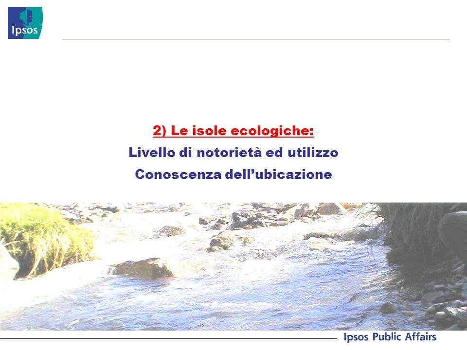2) Le isole ecologiche: Livello di notorietà ed utilizzo Conoscenza dellubicazione