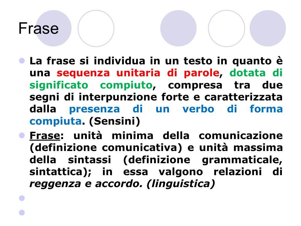 Frase La frase si individua in un testo in quanto è una sequenza unitaria di parole, dotata di significato compiuto, compresa tra due segni di interpunzione forte e caratterizzata dalla presenza di un verbo di forma compiuta.