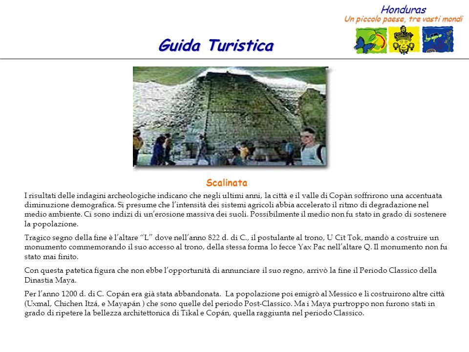Honduras Un piccolo paese, tre vasti mondi Guida Turistica I risultati delle indagini archeologiche indicano che negli ultimi anni, la città e il valle di Copàn soffrirono una accentuata diminuzione demografica.