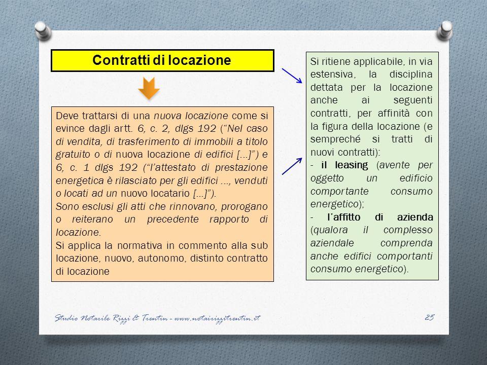 Contratti di locazione Deve trattarsi di una nuova locazione come si evince dagli artt. 6, c. 2, dlgs 192 (Nel caso di vendita, di trasferimento di im