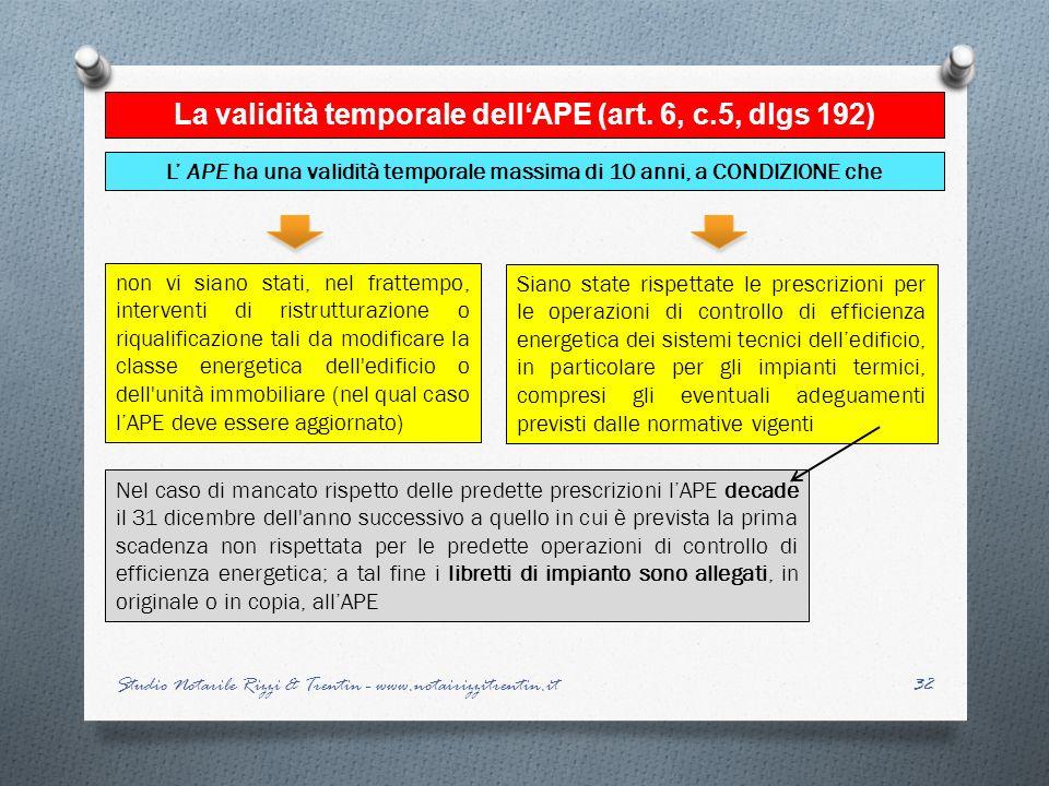 32 La validità temporale dellAPE (art. 6, c.5, dlgs 192) L APE ha una validità temporale massima di 10 anni, a CONDIZIONE che non vi siano stati, nel