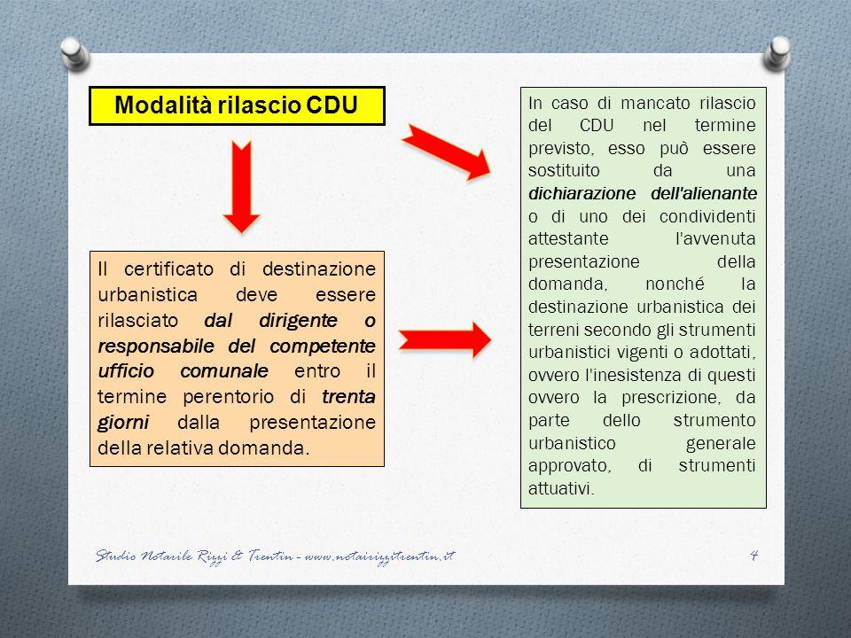 Modalità rilascio CDU Il certificato di destinazione urbanistica deve essere rilasciato dal dirigente o responsabile del competente ufficio comunale e
