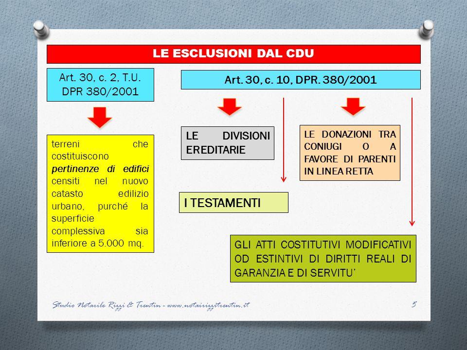 5 LE ESCLUSIONI DAL CDU Art. 30, c. 2, T.U. DPR 380/2001 terreni che costituiscono pertinenze di edifici censiti nel nuovo catasto edilizio urbano, pu